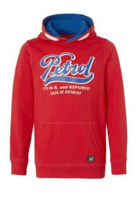 Petrol Industries hoodie met logo rood/blauw/wit, Rood/blauw/wit