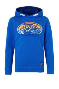 Petrol Industries hoodie met logo blauw/oranje/wit, Blauw/oranje/wit