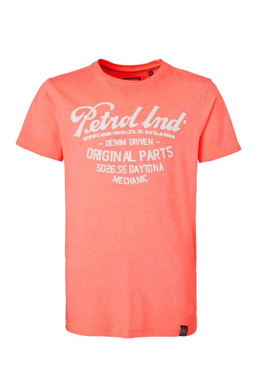 Petrol Industries T-shirt met printopdruk oranje/wit, Oranje/wit