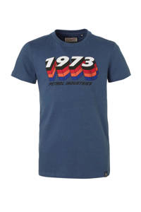Petrol Industries T-shirt met tekst blauw/wit/zwart, Blauw/wit/zwart