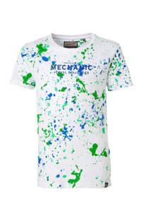 Petrol Industries T-shirt met all over print wit/blauw/groen, Wit/blauw/groen