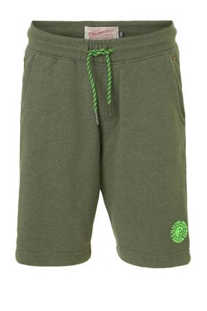 regular fit sweatshort met logo donkergroen/groen