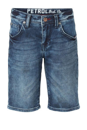 slim fit jeans bermuda dark denim stonewashed