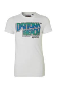 Petrol Industries T-shirt met tekst wit/blauw/groen, Wit/blauw/groen