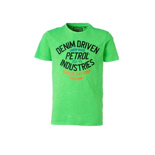 Petrol Industries T-shirt met printopdruk neon gro