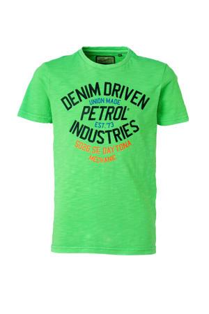 T-shirt met printopdruk neon groen