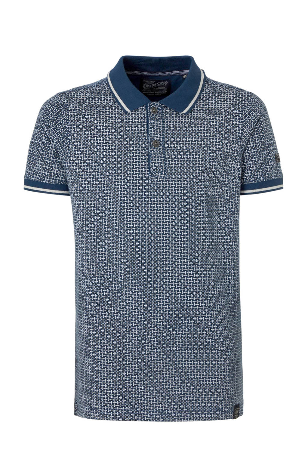 Petrol Industries polo met all over print donkerblauw/wit, Donkerblauw/wit