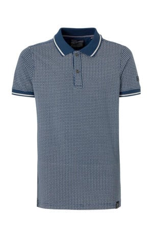 polo met all over print donkerblauw/wit