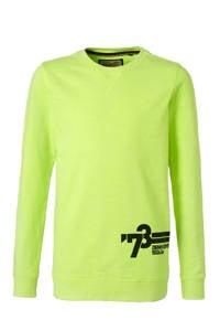 Petrol Industries sweater met printopdruk neon geel, Neon geel