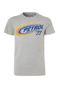 Petrol Industries T-shirt met logo grijs melange/blauw/geel