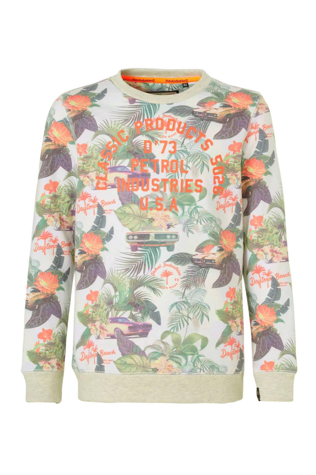Petrol Industries sweater met all over print wit/oranje/groen, Wit/oranje/groen