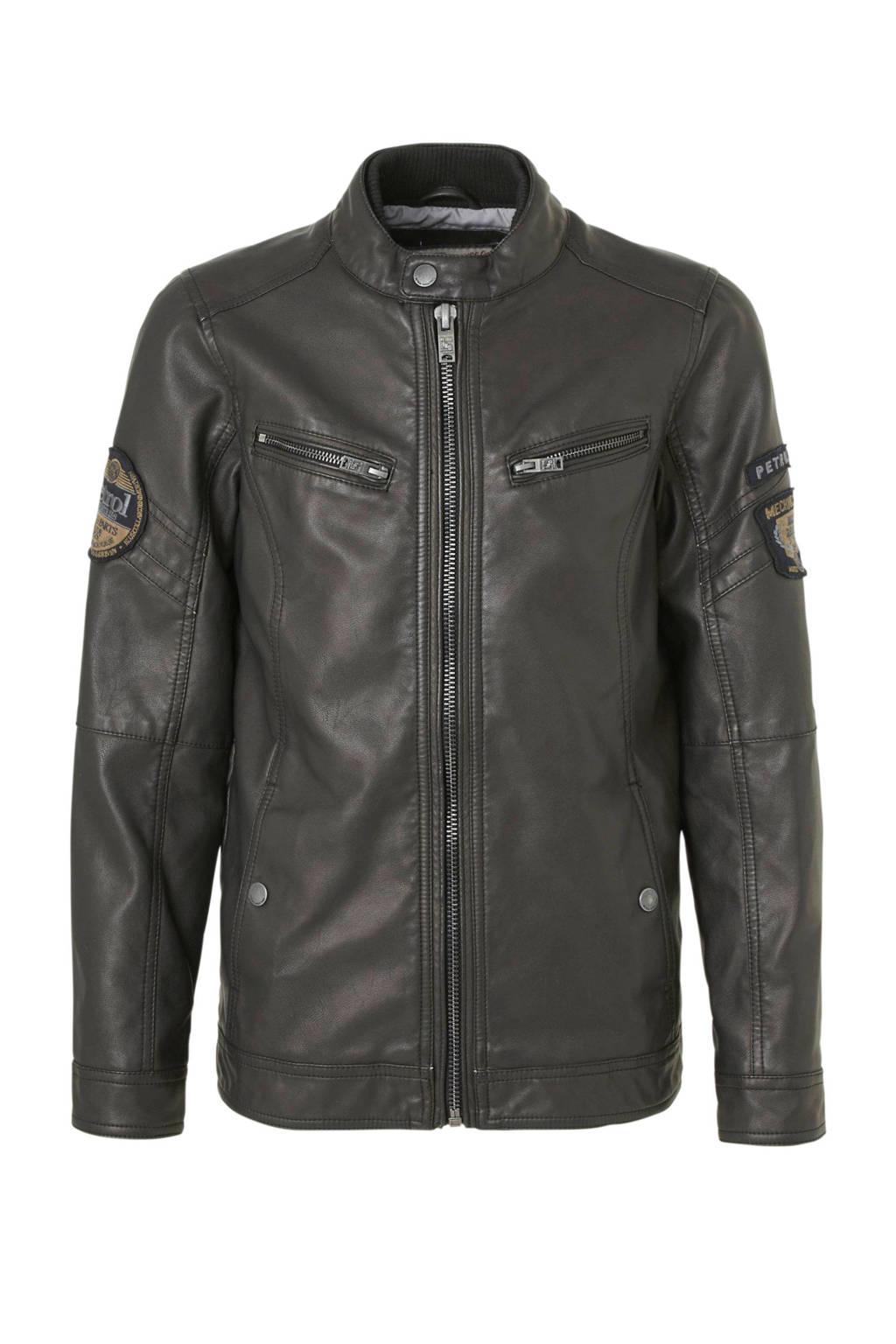 Petrol Industries imitatieleren jas met patches zwart, Zwart