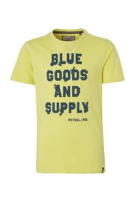 Petrol Industries T-shirt met tekst geel/donkerblauw, Geel/donkerblauw