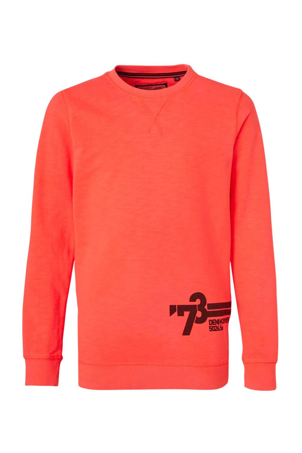 Petrol Industries sweater met printopdruk oranje/zwart, Oranje/zwart
