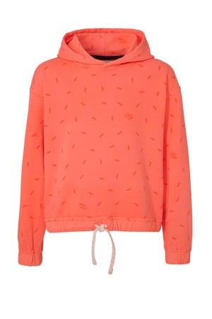 hoodie met all over print zalm/oranje/wit