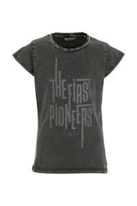 Petrol Industries T-shirt met printopdruk antraciet/goud