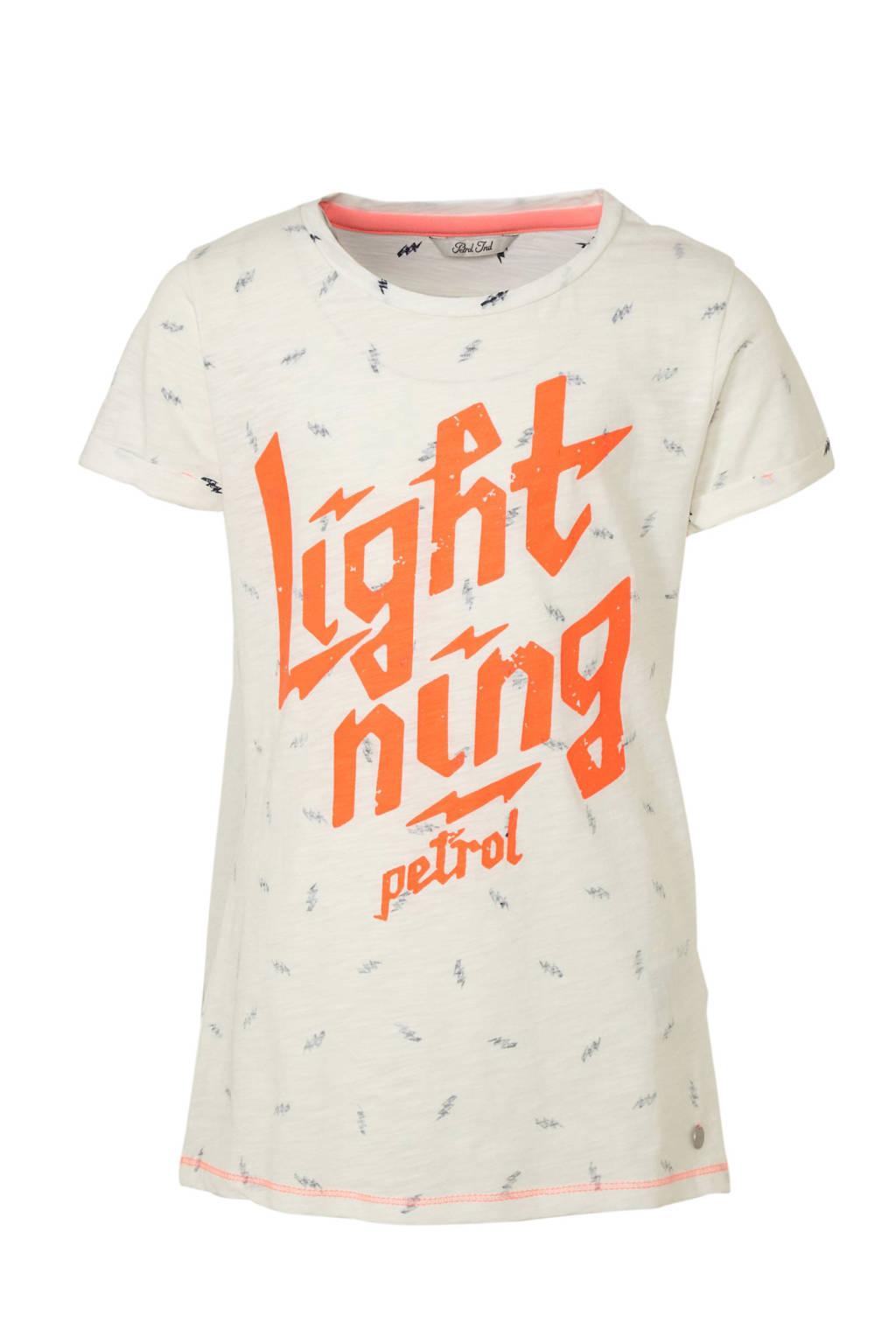 Petrol Industries T-shirt met printopdruk wit/oranje/grijs, Wit/oranje/grijs
