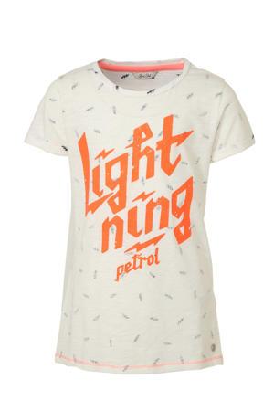 T-shirt met printopdruk wit/oranje/grijs