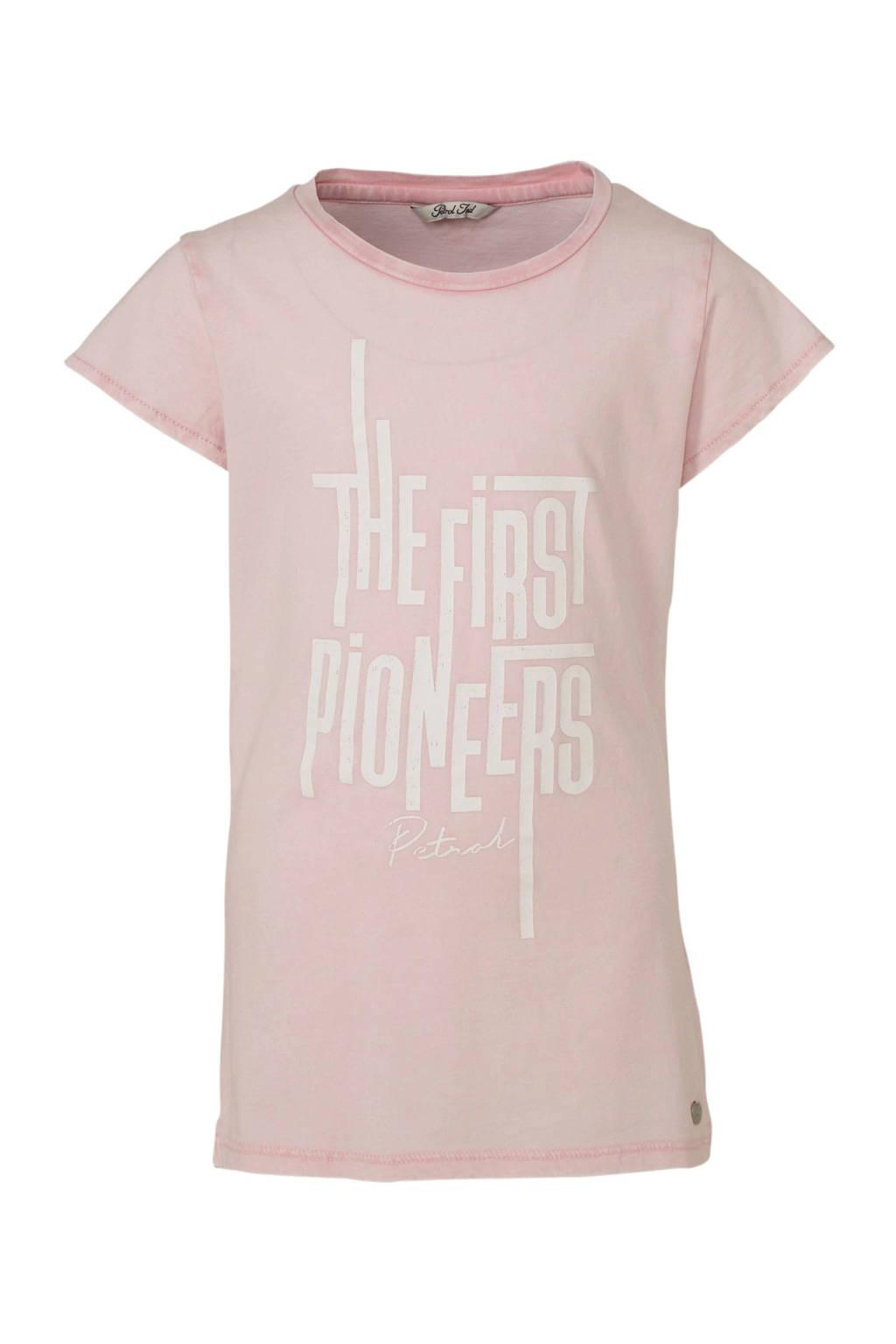 Petrol Industries T-shirt met printopdruk lichtroze/wit, Lichtroze/wit