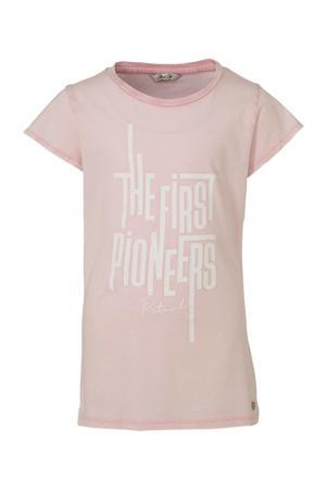 T-shirt met printopdruk lichtroze/wit