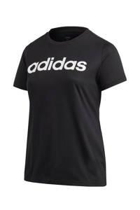 adidas Performance Plus Size sport T-shirt  zwart/wit, Zwart/wit
