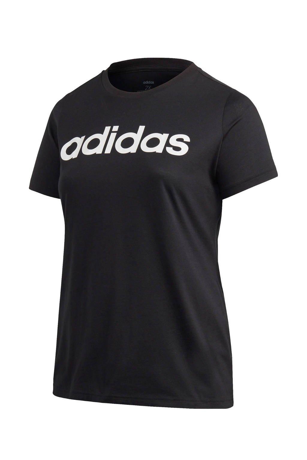 adidas Performance Plus Size sport T-shirt zwart, Zwart/wit