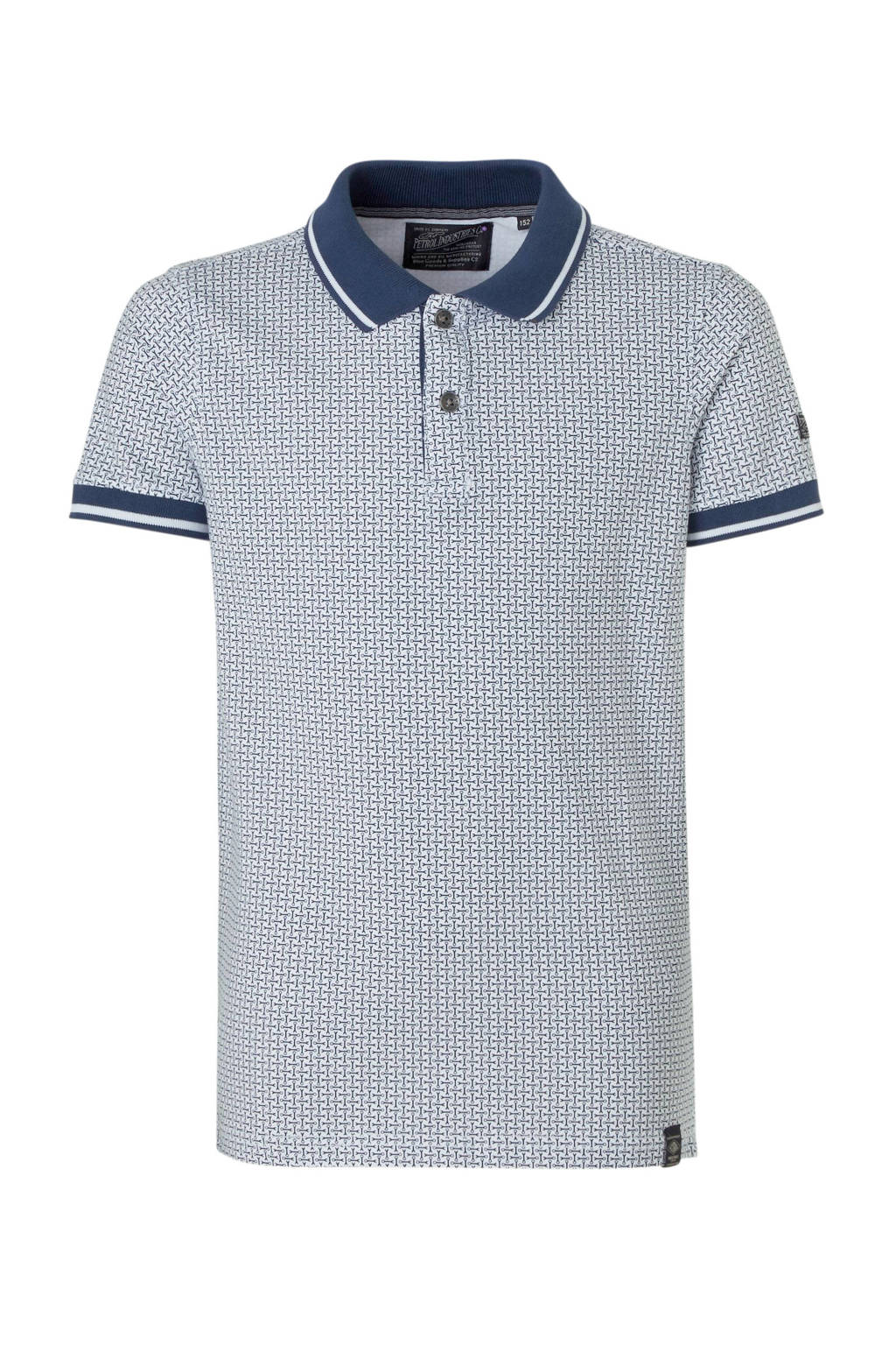 Petrol Industries polo met all over print wit/donkerblauw, Wit/donkerblauw