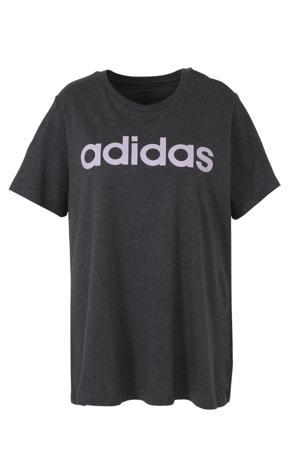 Plus Size sport T-shirt grijs/lila