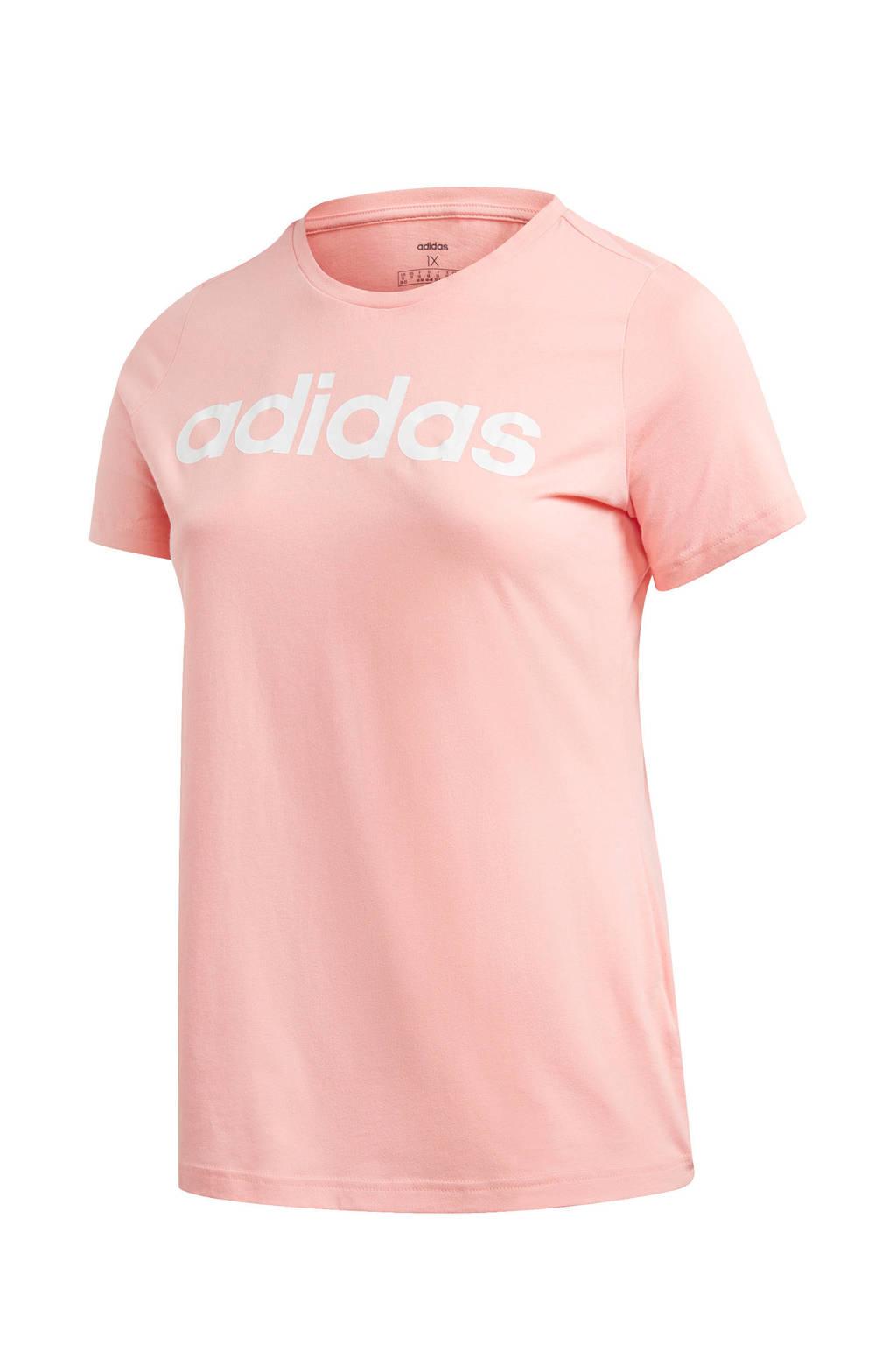 adidas performance Plus Size sport T-shirt lichtroze/wit, Lichtroze/wit