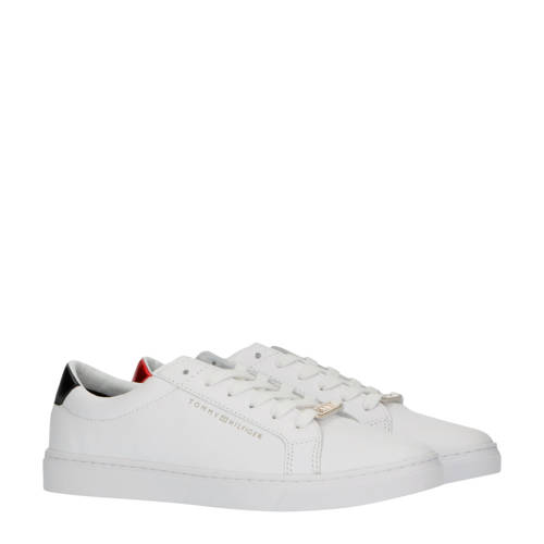 Tommy Hilfiger Essential leren sneakers wit/rood/b