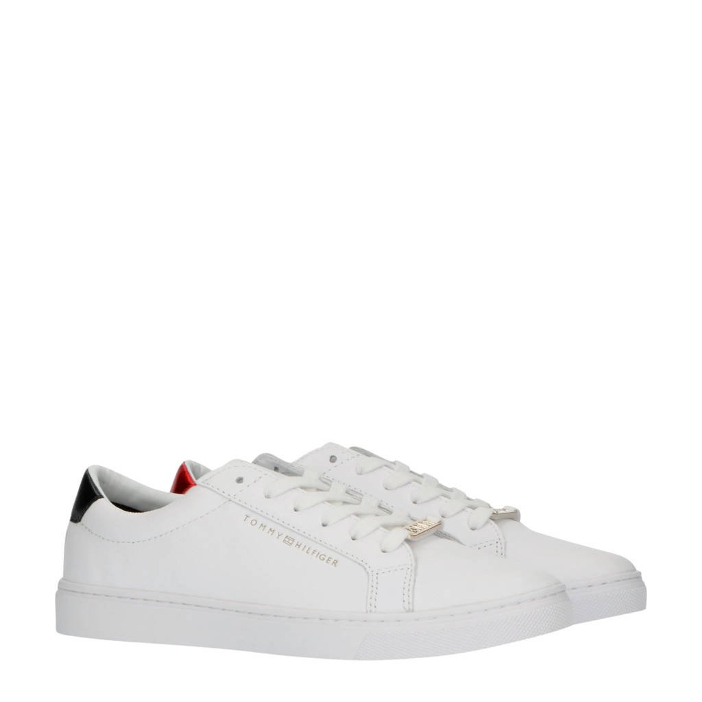 Tommy Hilfiger Essential  leren sneakers wit/rood/blauw, Wit/rood/blauw