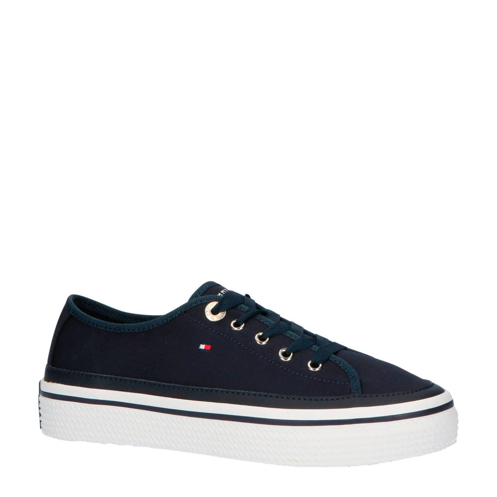 Tommy Hilfiger Corporate Flatform  sneakers wit, Donkerblauw/wit/rood