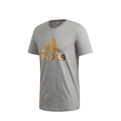 adidas Performance sport T-shirt grijs/goud