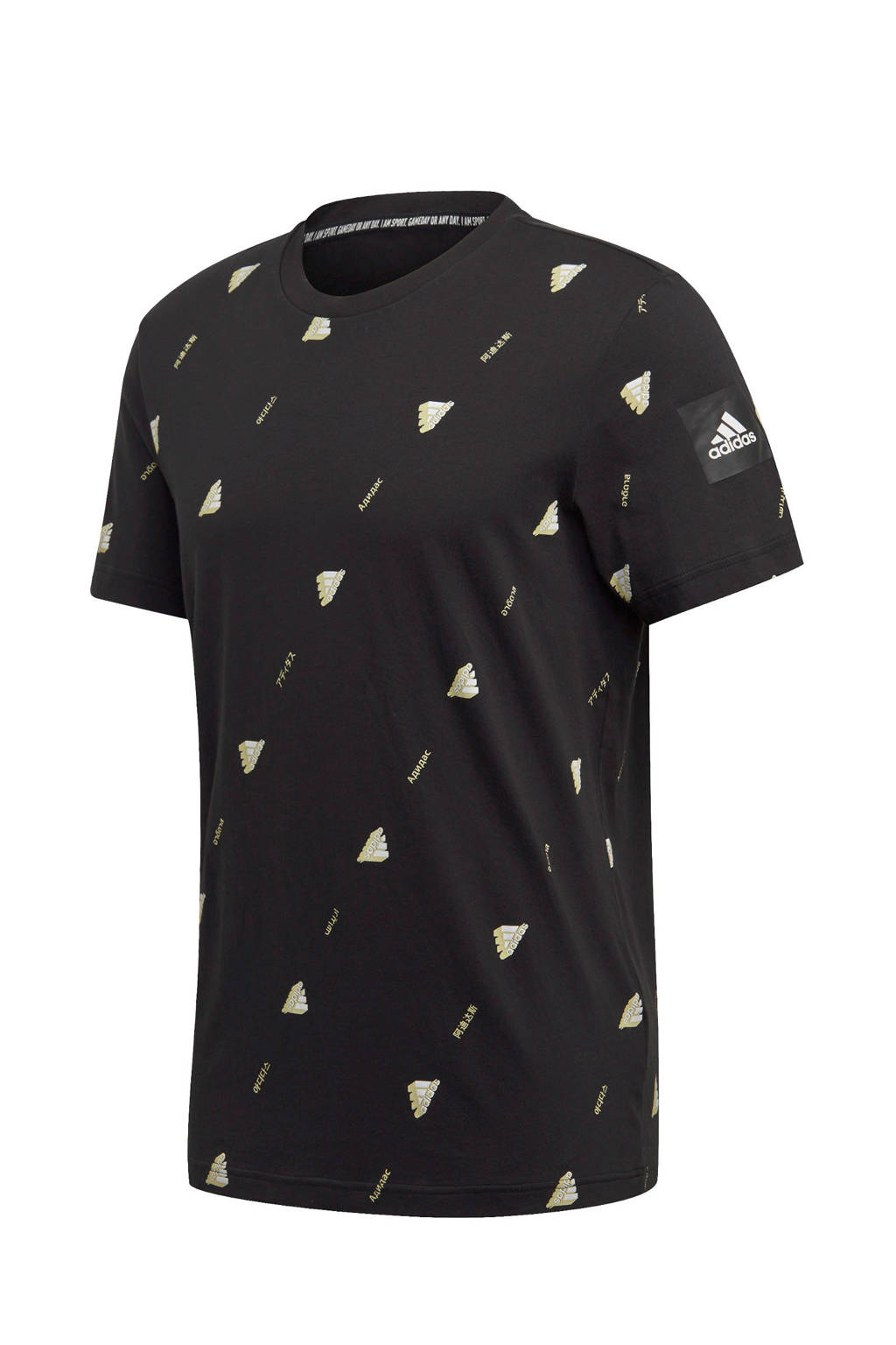 adidas Performance   sport T-shirt zwart, Zwart/geel