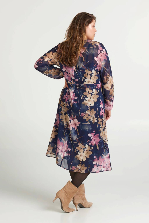 Zizzi jurk met all over print blauw, Blauw