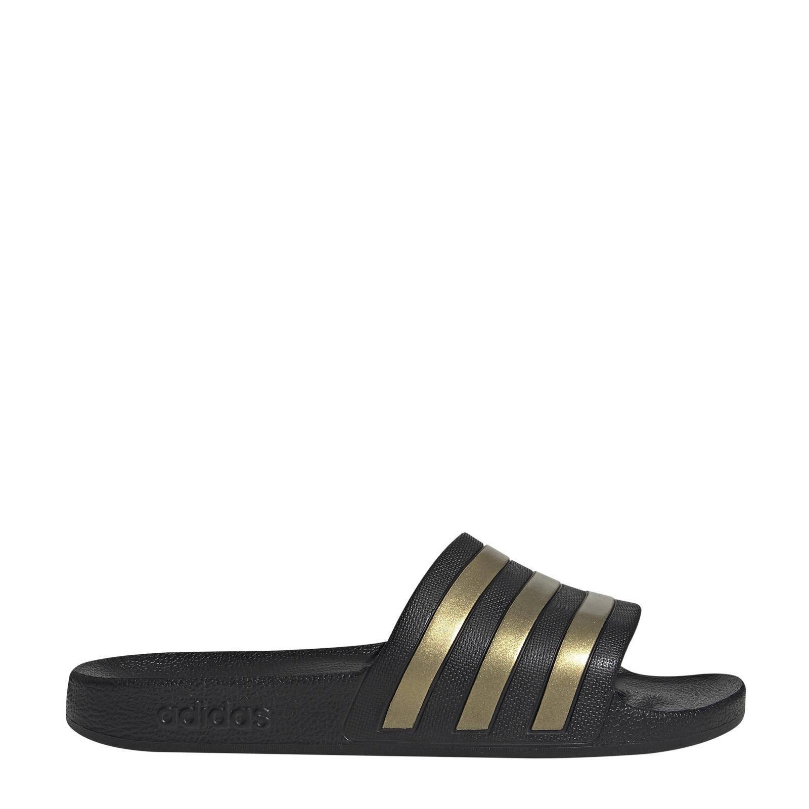 adidas Performance Adilette Aqua badslippers zwart/goud ...