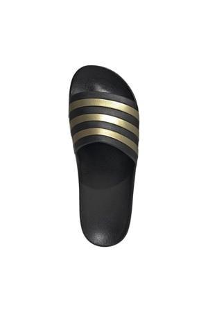 Adilette Aqua slippers zwart/geel