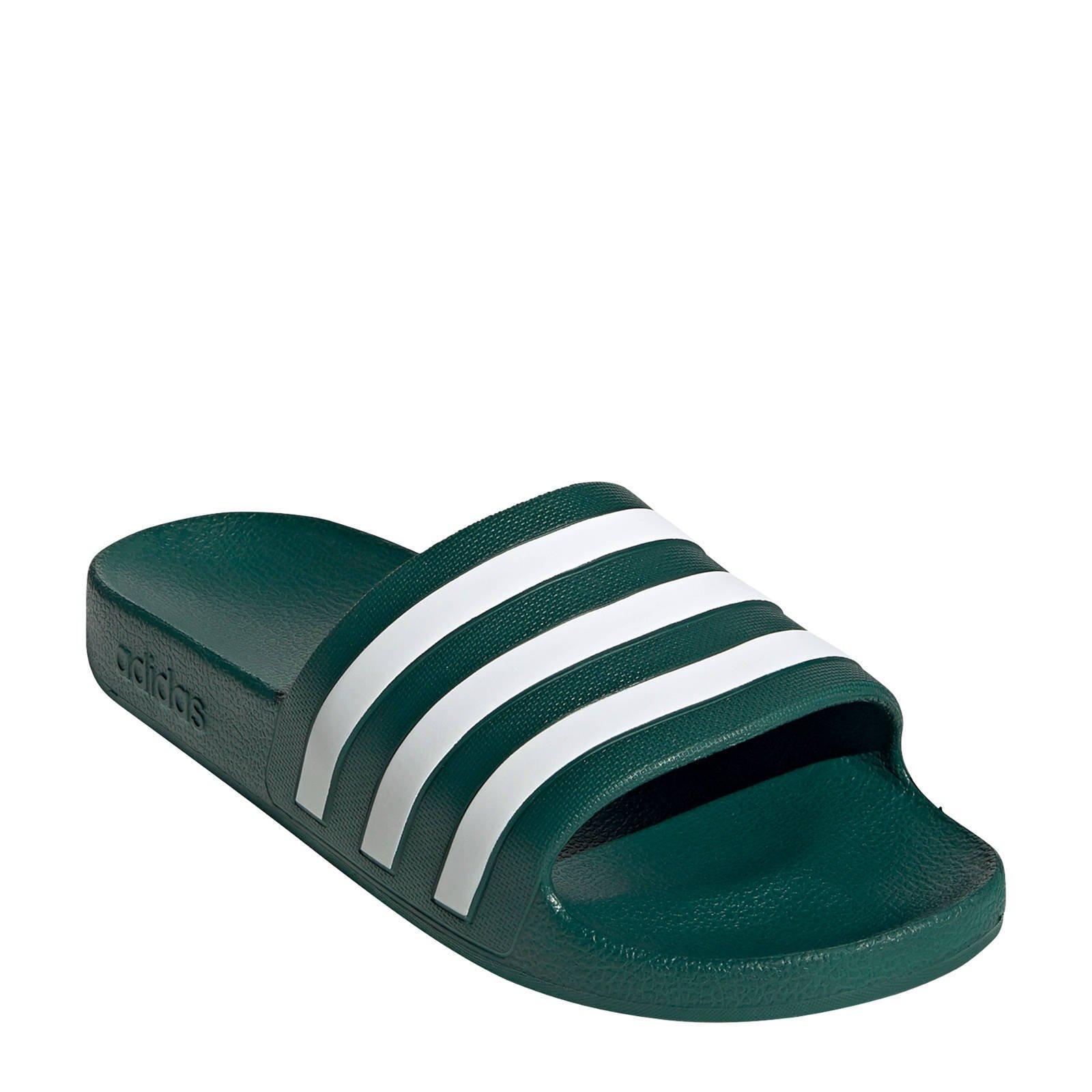 adidas Performance Adilette Aqua badslippers groenwit   wehkamp