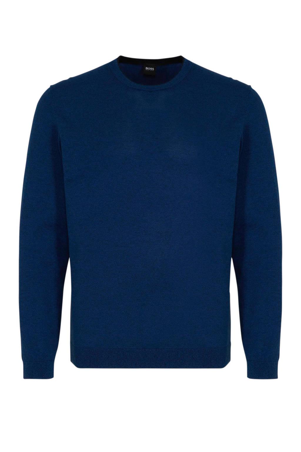 BOSS Menswear gemêleerde trui donkerblauw, Donkerblauw