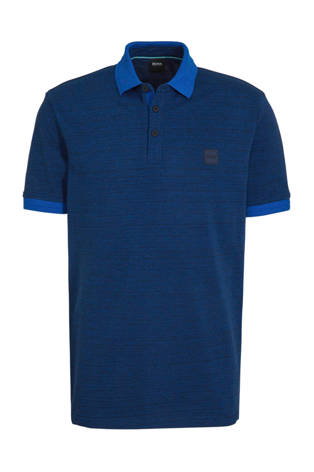 BOSS gemêleerde slim fit polo blauw, Blauw