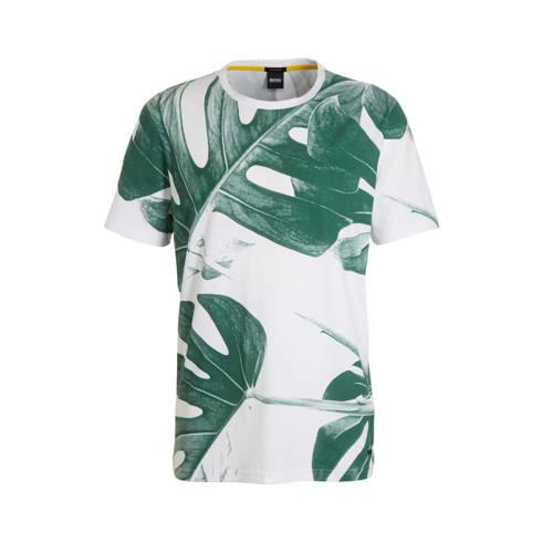 BOSS Casual T-shirt met bladprint wit