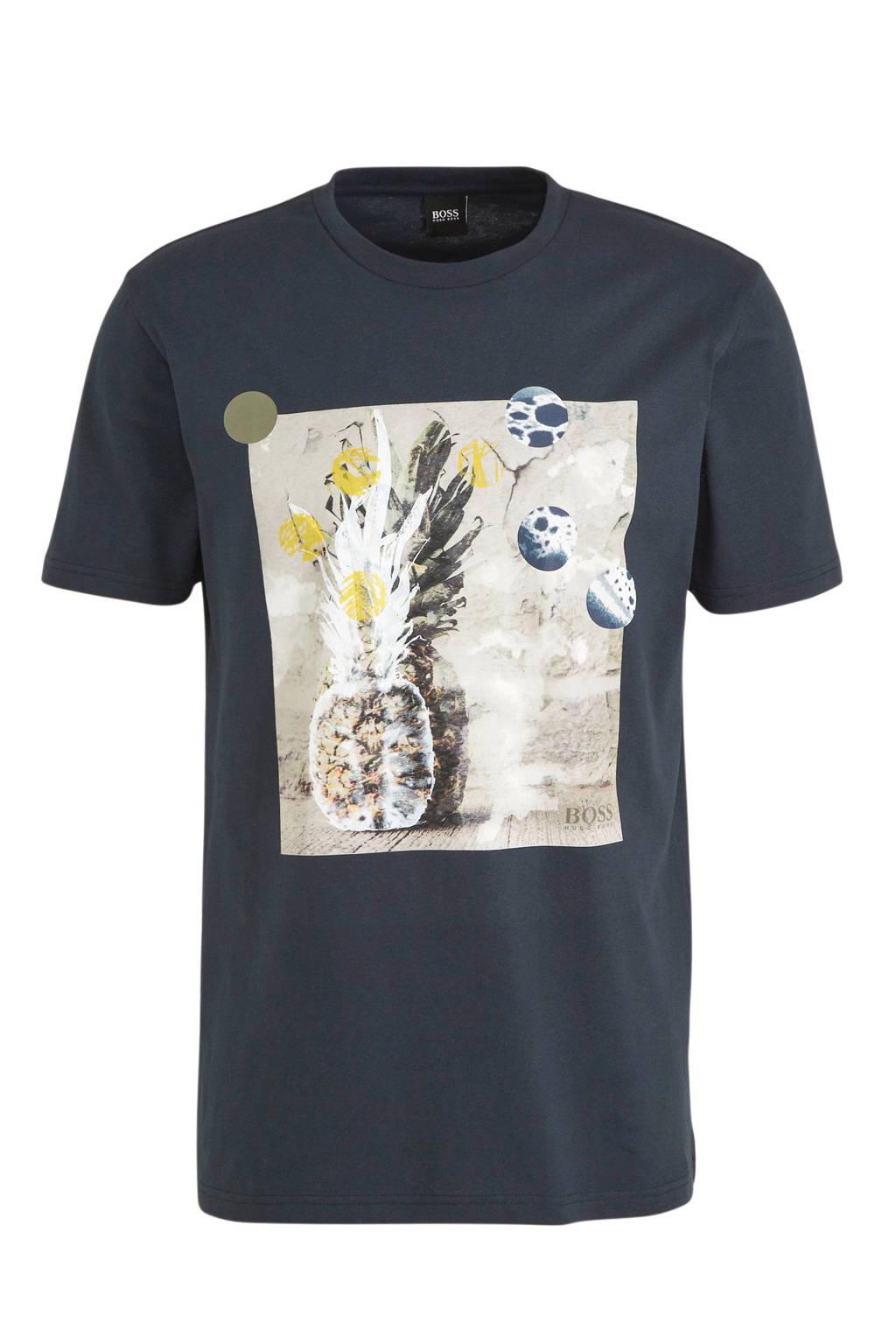 BOSS Casual T-shirt met printopdruk donkerblauw, Donkerblauw