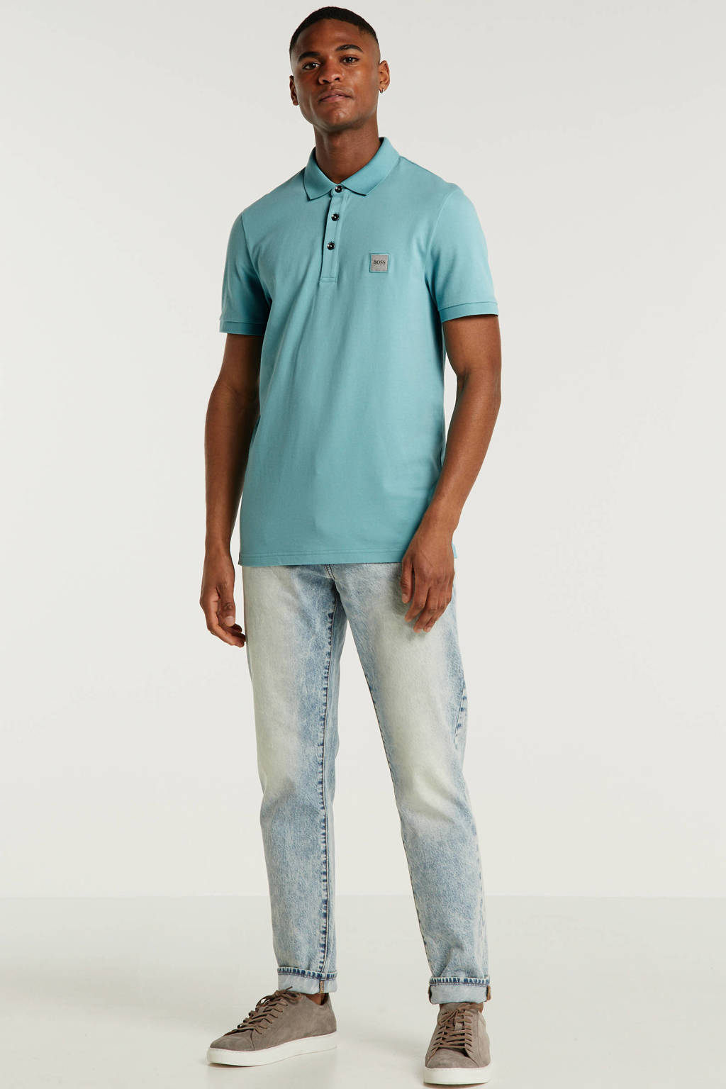 BOSS Casual slim fit polo met logo lichtblauw, Lichtblauw