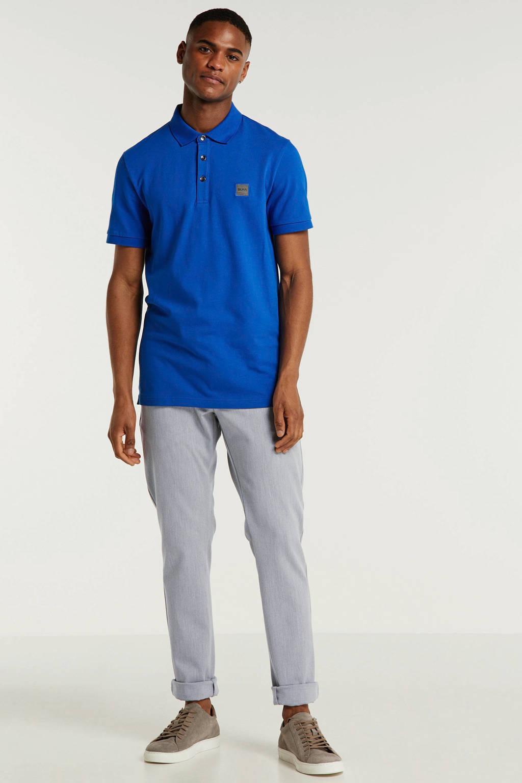 BOSS slim fit polo met logo, Blauw