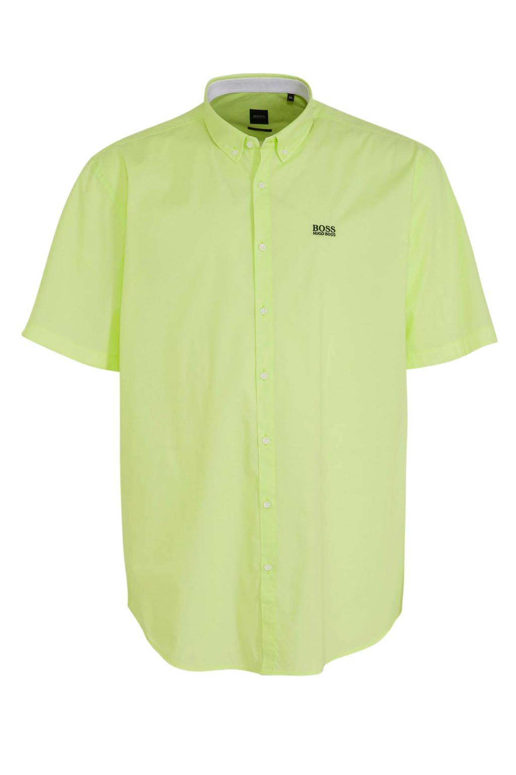 BOSS Athleisure Big & Tall regular fit overhemd met logo geel, Geel