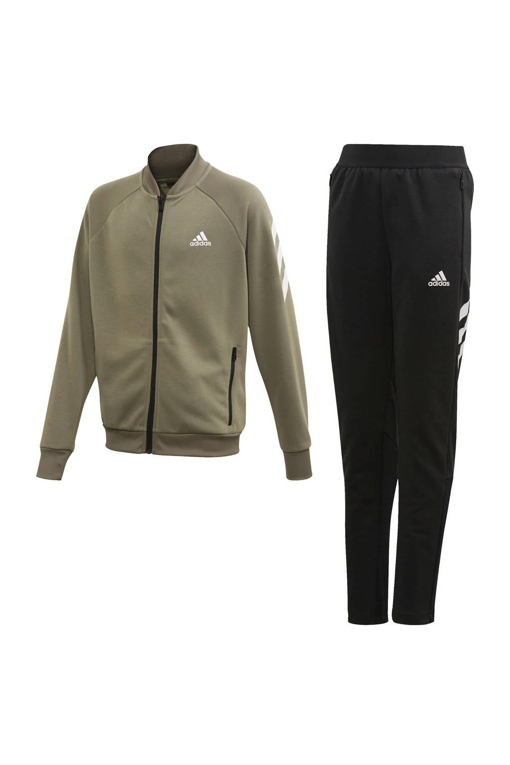 adidas   trainingspak kaki/zwart, Kaki