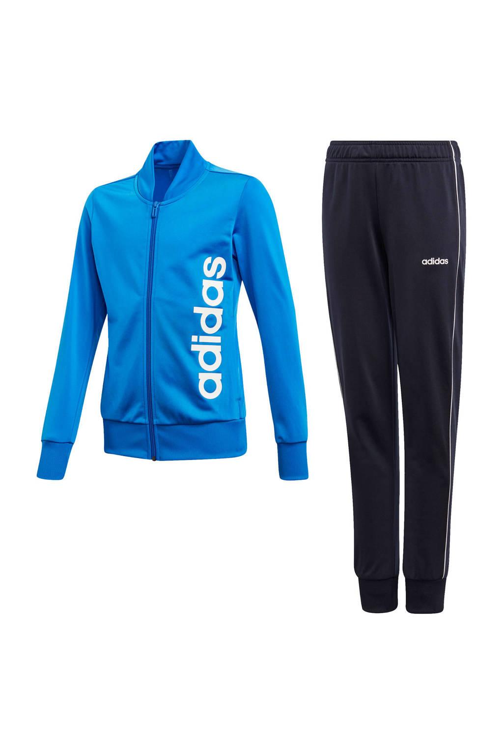 adidas trainingspak zwart/blauw, Zwart/blauw