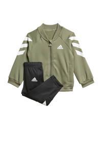 adidas   trainingspak olijfgroen/zwart/wit, Olijfgroen/zwart/wit