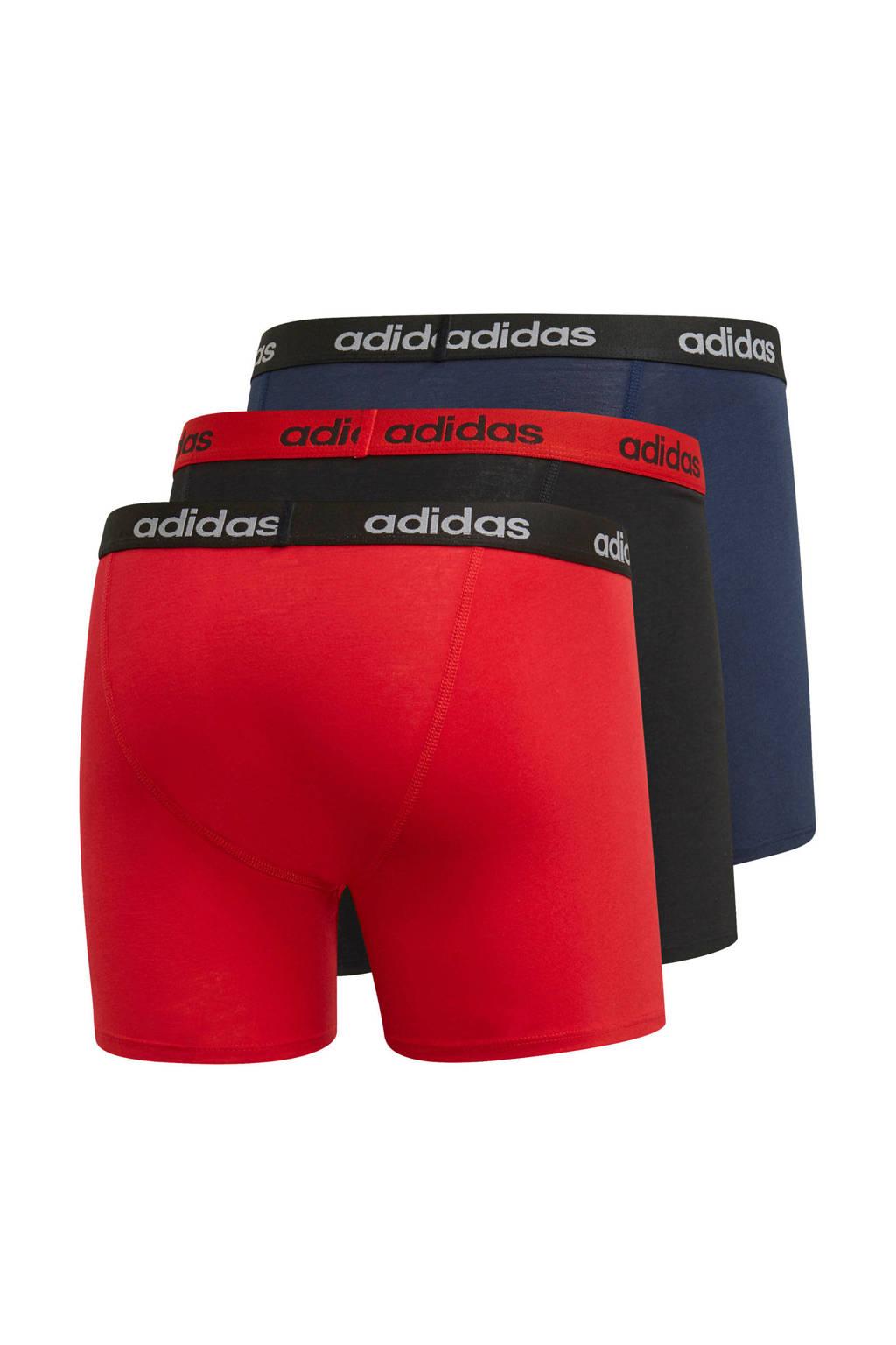 adidas sportboxer rood/zwart/donkerblauw (set van 3), Rood/zwart/donkerblauw