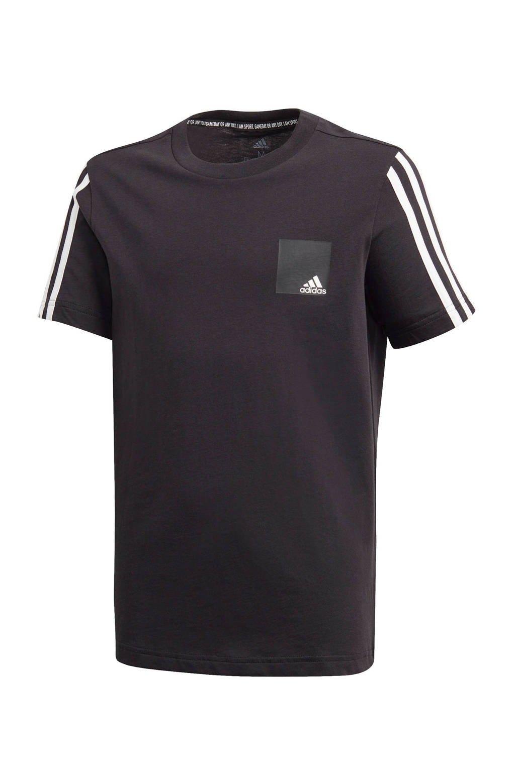 adidas   sport T-shirt zwart/wit, Zwart/wit
